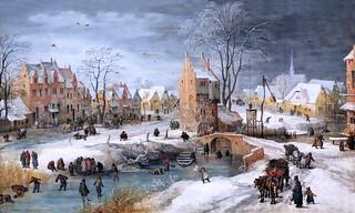 IMG_5608 Joos de Momper le Jeune. 1564-1635  Anvers  Un village en hiver. A Village in Winter.  Hamburg Kunsthalle.