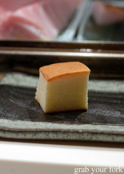 Egg omelette served at the omakase by Masuya Sydney