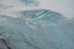 Close up aerial photography view of an unnamed glacier near Seldovia Alaska along the Kachemak Bay in Alaska
