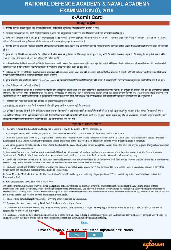 UPSC NDA Admit Card 2019 - Instruction page