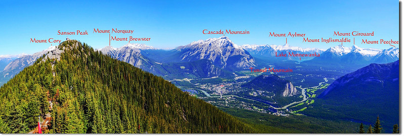 From Banff Gondola Upper Terminal facing North at mountains 1