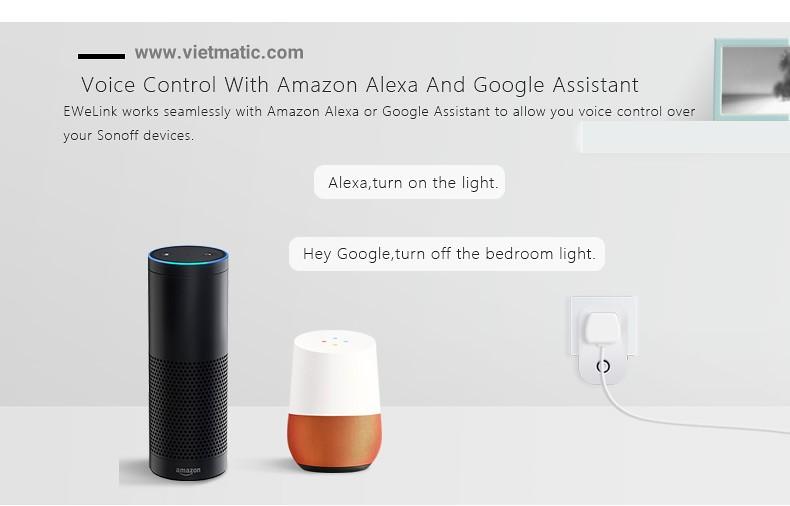 Điều khiển bằng giọng nói khi dùng với Amazon Alexa và Google Assistant