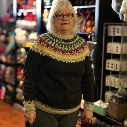 Angela's beautiful Lettlopi yoke sweater!