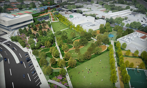 Rendering, West Hollywood Library and City Park