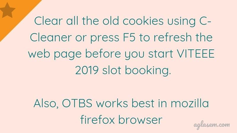 VITEEE 2019 Slot Booking