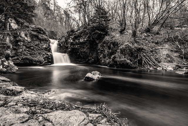 fine art black & white long exposure of the Linn of Ruthrie (Linn Falls) on the Aberlour Burn, Aberlour, Charleston of Aberlour (Obar Lobhair), Moray, Scotland