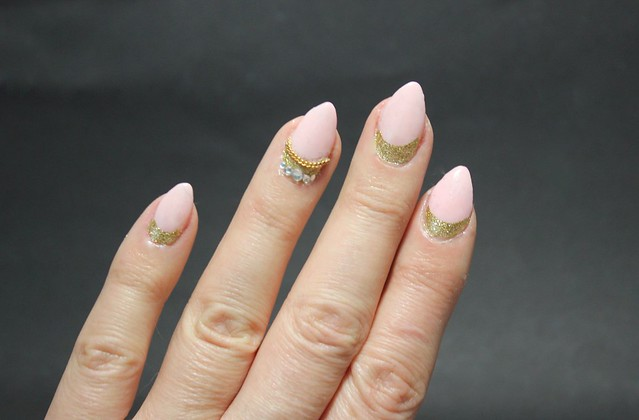 ncla rose sheer nude nailposlish golden nailart half moon