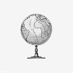 Vintage globe stand illustration