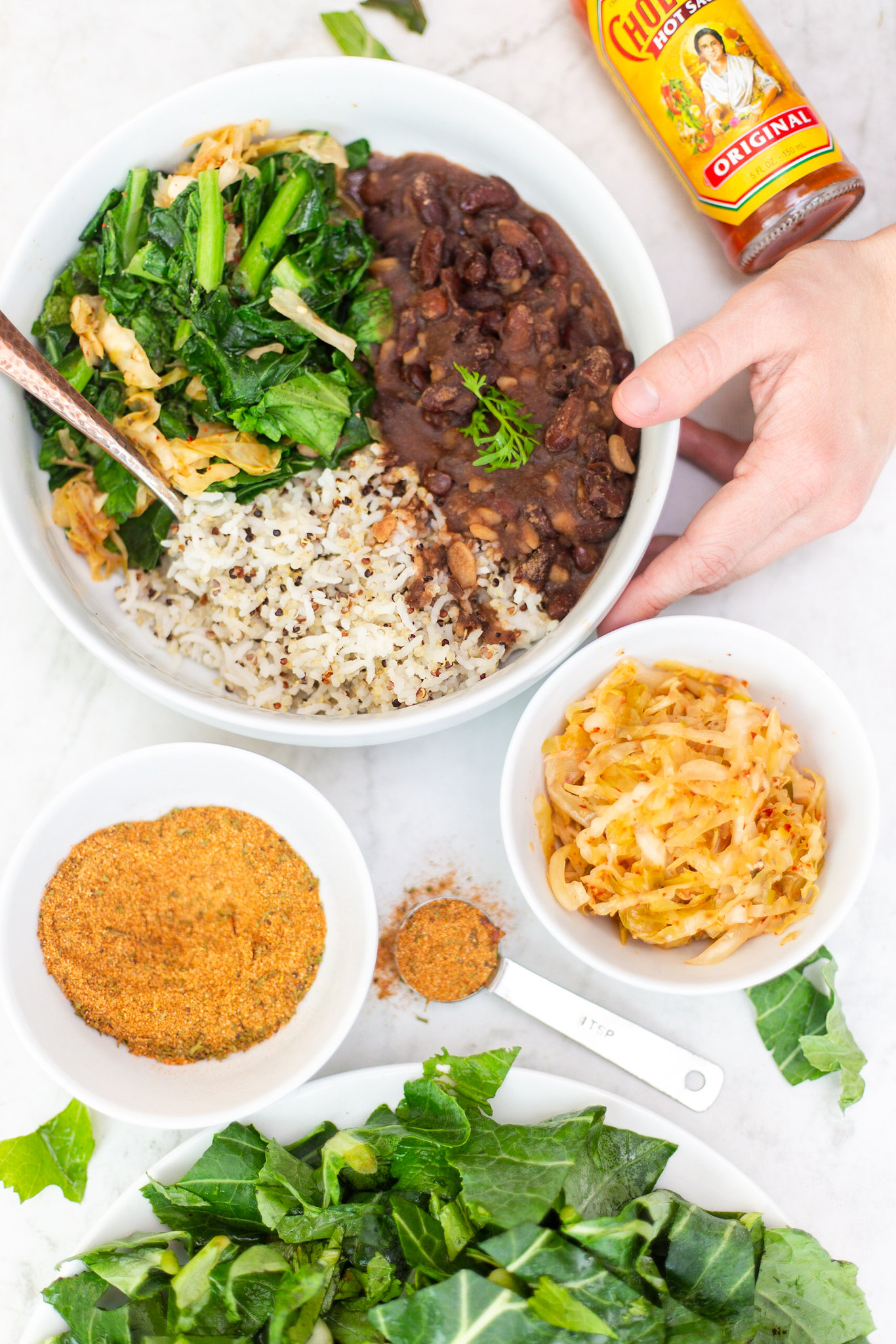 Louisiana Style Vegan Red Beans and Rice | Red Beans and Rice with Sautéed Southern Greens and Kimchi