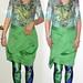 20180501 1756 - fashion show - Clio - green shirt, skirt, peacock leggings - diptych.17.56.06.17.56.18