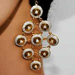 American Diamond Studded Gold Dangler Earrings From Orne Jewels