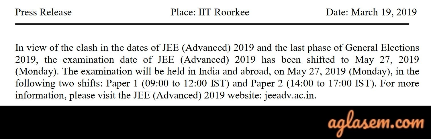 JEE Advanced 2019 Exam Date Shifted To May 27, 2019 Due To Lok Sabha Elections