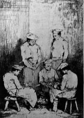 9 - Courbevoie - Musée Roybet Fould - Théodule Ribot, L'esprit et la chère - Les Eplucheurs, 1863, Eau-forte sur papier