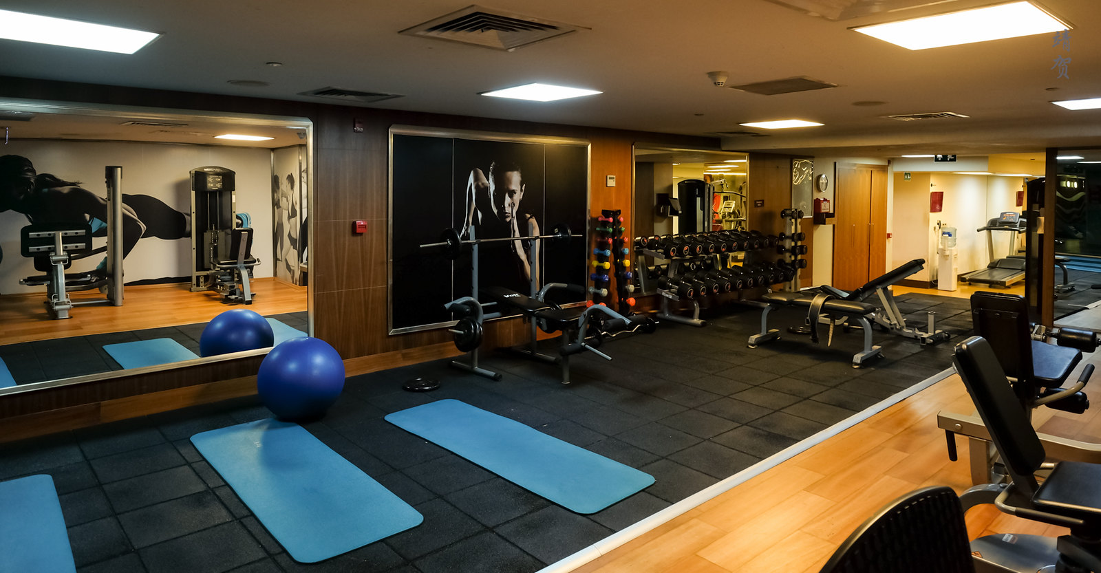 Weights and mats in the fitness centre