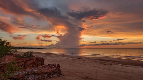 Well structured sunset storm over Cox Peninsula, Darwin Harbour, NT, Australia