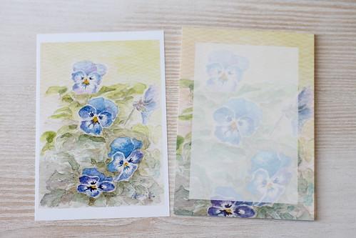 たからにゃさん(あかり花鳥風月さん)ビオラのポストカードとメモ用紙