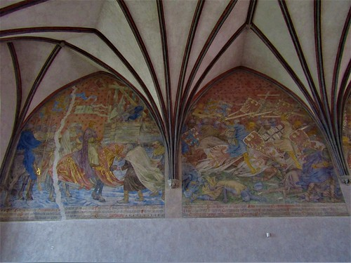Paintings on wall of Malbork Castle in Poland