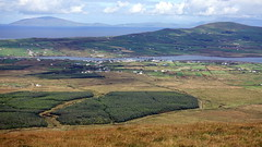 View of Portmagee and Valentia Island from the Coomanaspic Pass