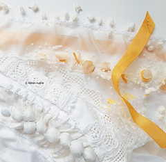 lemon and white embroidery with a drawstring edge