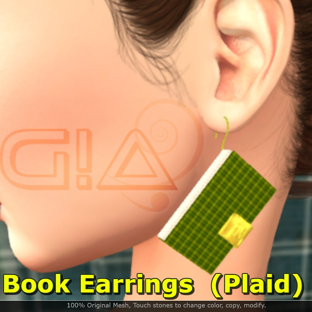 Book Earrings Plaid Vendor - TeleportHub.com Live!