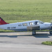 HB-LKM - 1979 build Piper PA-34-200T Seneca II, taxiing for departure on Runway 24 at Friedrichshafen during Aero 2018