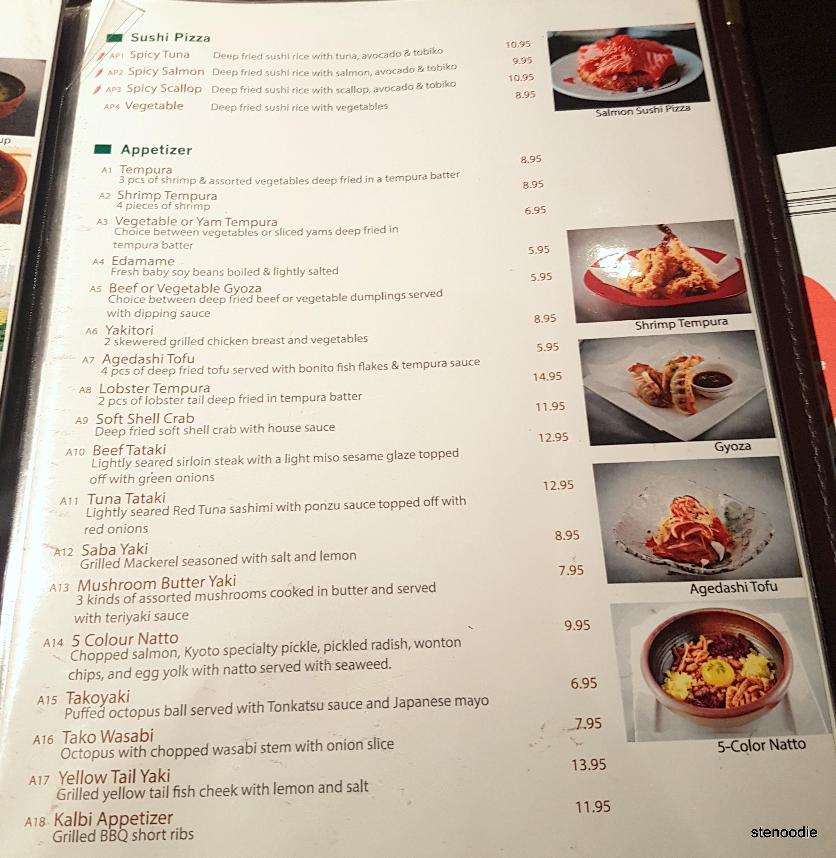 Hamaru Sushi menu and prices