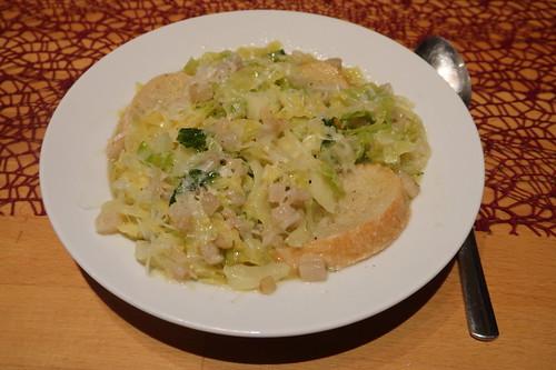 Italienische Wirsingsuppe mit Brot und Parmesan (mein 2. Teller)