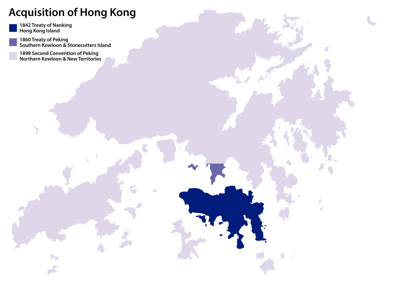 Great Britain acquired Hong Kong Island in 1842, Kowloon Peninsula in 1860, and leased the New Territories rent-free[4] in 1898.