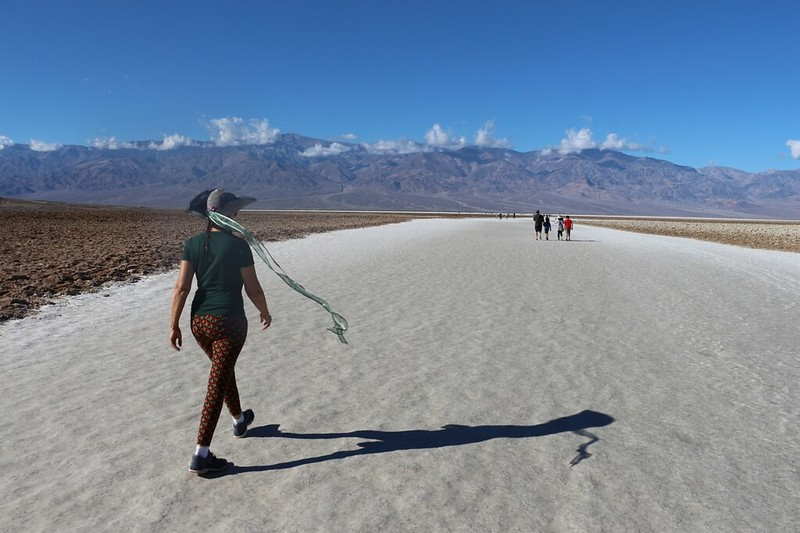 Countless visitors have walked out into the middle of the salt flats in Badwater, Death Valley