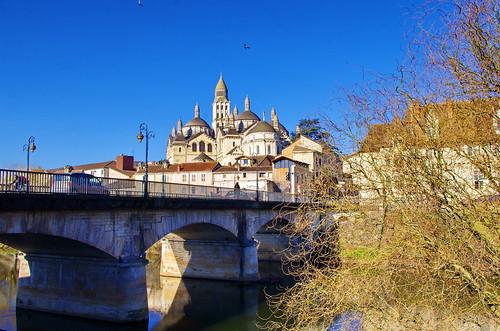 02 - Périgueux Février 2019 - l'Isle, le Pont des Barris, la cathédrale Saint-Front