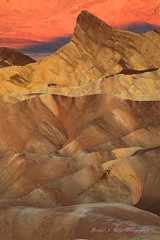 Sunrise Over The Manly Beacon and The Alluvial Fans From Zabriskie Point in Death Valley National Park California