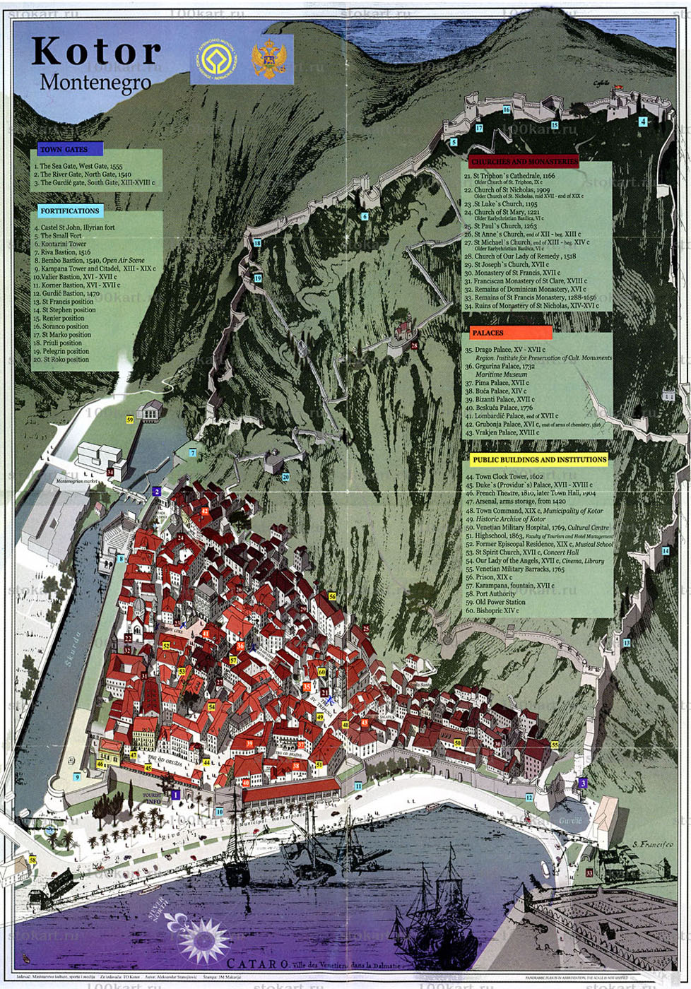 Map showing sites within the Old Town of Kotor as well as the Venetian fortifications on the mountain slopes and ridges.