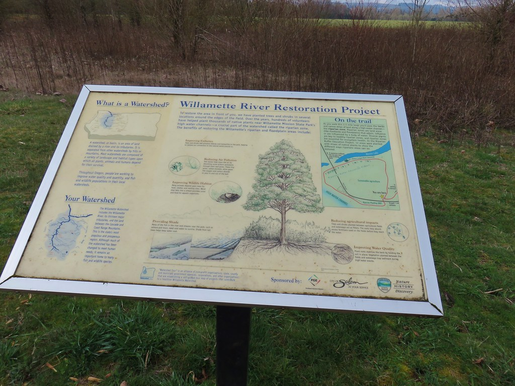 Interpretive sign along the Willamette Vision Educational Trail