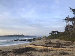 North end of Carmel River Beach/early morning/moon above