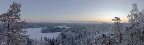 hämeenlinna tavastiaproper finland lake winter sunrise landscape snow aulanko