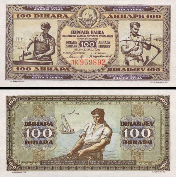 100 Dinárov Juhoslávia 1946, P65b