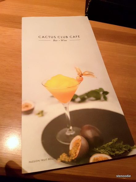 Cactus Club Cafe drinks menu cover