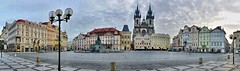 Empty Old town square in Prague, Czech Republic - panorama