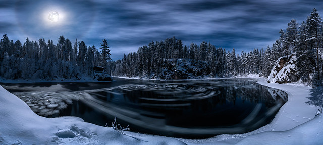 River Kitkajoki Full moon halo and three whirl pools