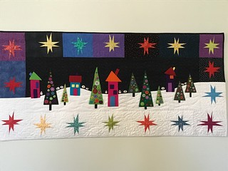 """Flocks By Night"" hand embroidered, machine pieced and machine quilted by Heather Stewart. Pattern by Wendy Williams. 