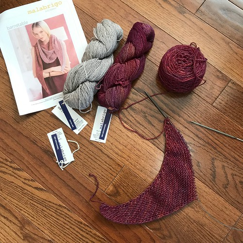 Last night, I cast on Barnstable by Lisa Hannes with Malabrigo Dos Tierras!