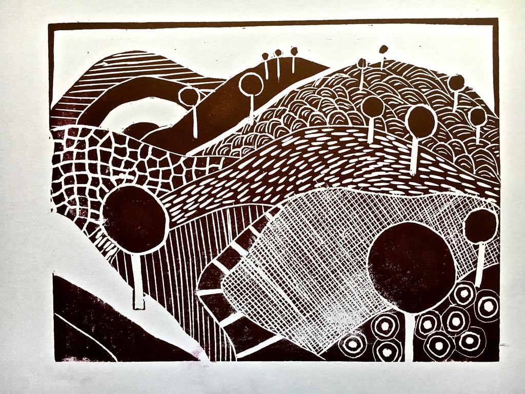 Linoprint landscape