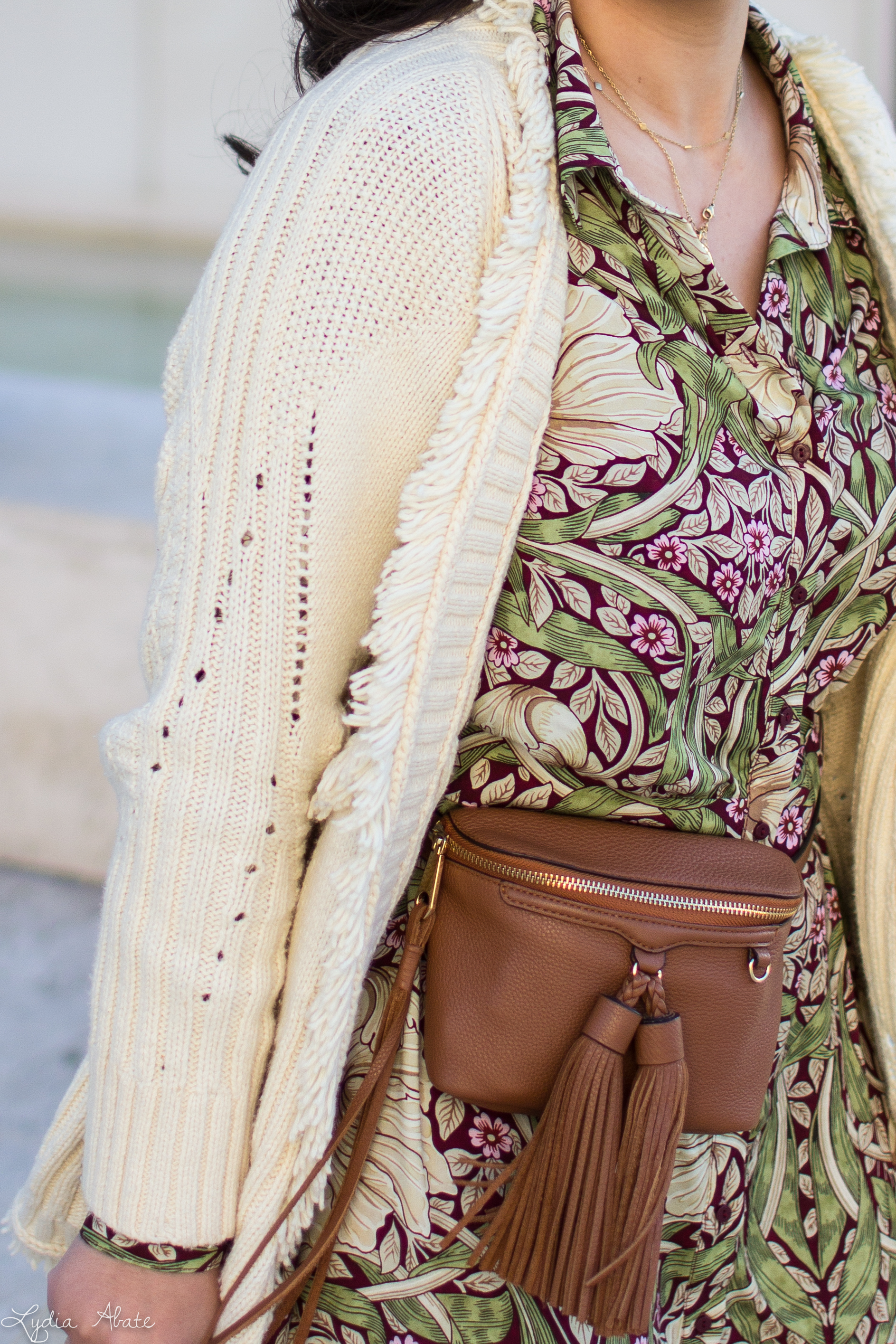 floral maxi dress, fringe cardigan, wool fedora, waist bag-5.jpg