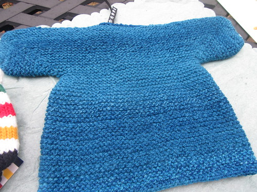 Back of handspun handknit Baby Surprise Jacket in BFL wool by irieknit