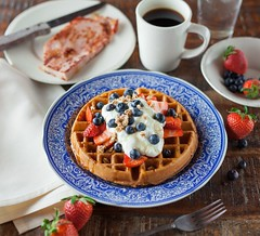 waffle pancake on blue ceramic plate - Credit to https://myfriendscoffee.com/