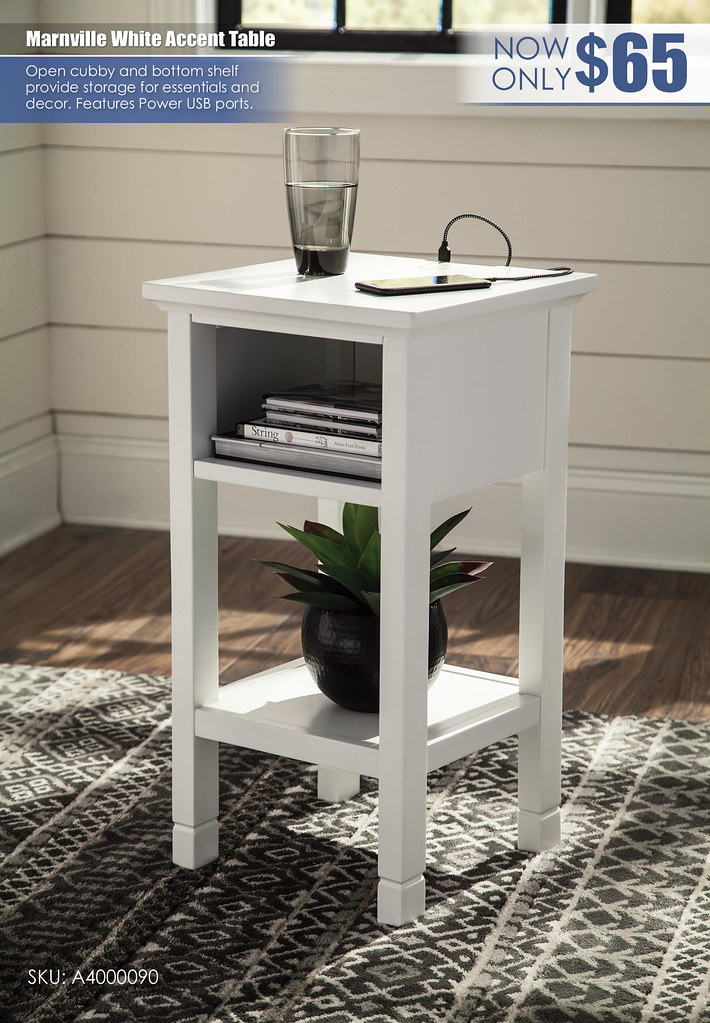 Marnville White Accent Table_A4000090