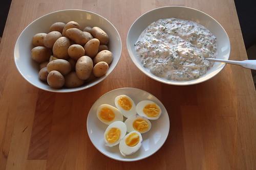 Pellkartoffeln mit Kräuterjoghurt und halben Eiern