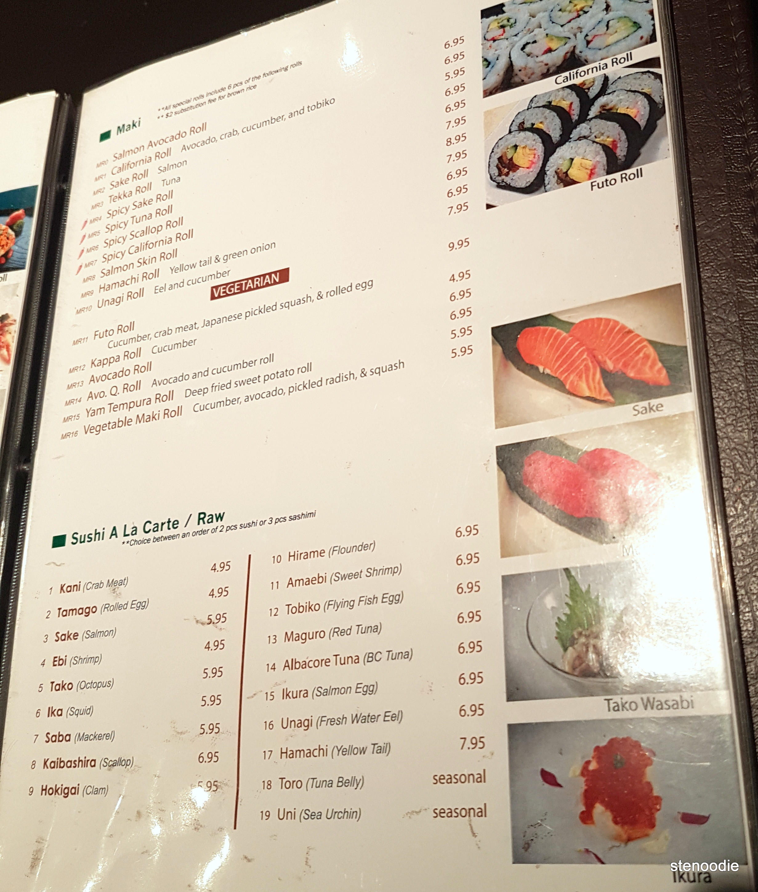 Hamaru Sushi menu and prices