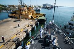 USS Chief (MCM 14) ties up to the pier in Muara, Feb. 15. (U.S. Navy/MC2 Jordan Crouch)