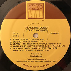 STEVIE WONDER:TALKING BOOK(LABEL SIDE-B)